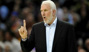 Nov 19, 2014; Cleveland, OH, USA; San Antonio Spurs head coach Gregg Popovich reacts in the third quarter against the Cleveland Cavaliers at Quicken Loans Arena. Mandatory Credit: David Richard-USA TODAY Sports